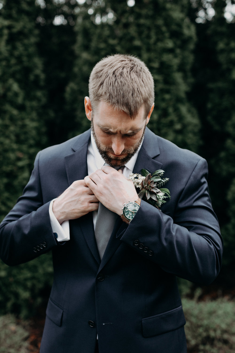 Succlent boutonniere for the groom // Alaska inspired winter wedding