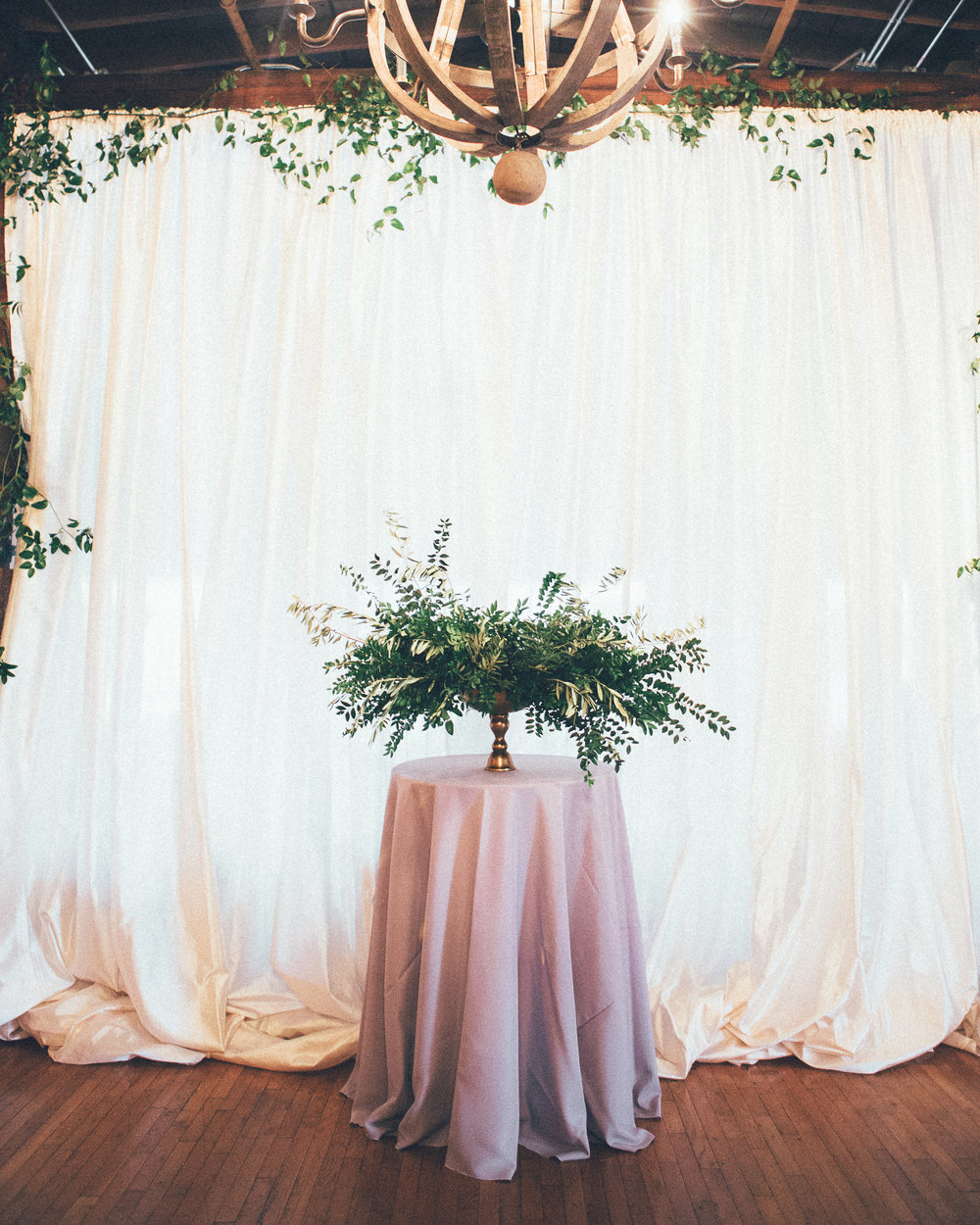 Lush greenery installation // Nashville Wedding Florist at Cannery One