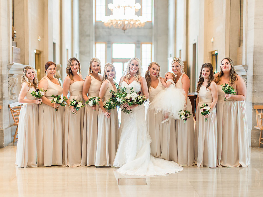 Bridal party portraits in the TN State Capitol // Nashville Wedding Flowers
