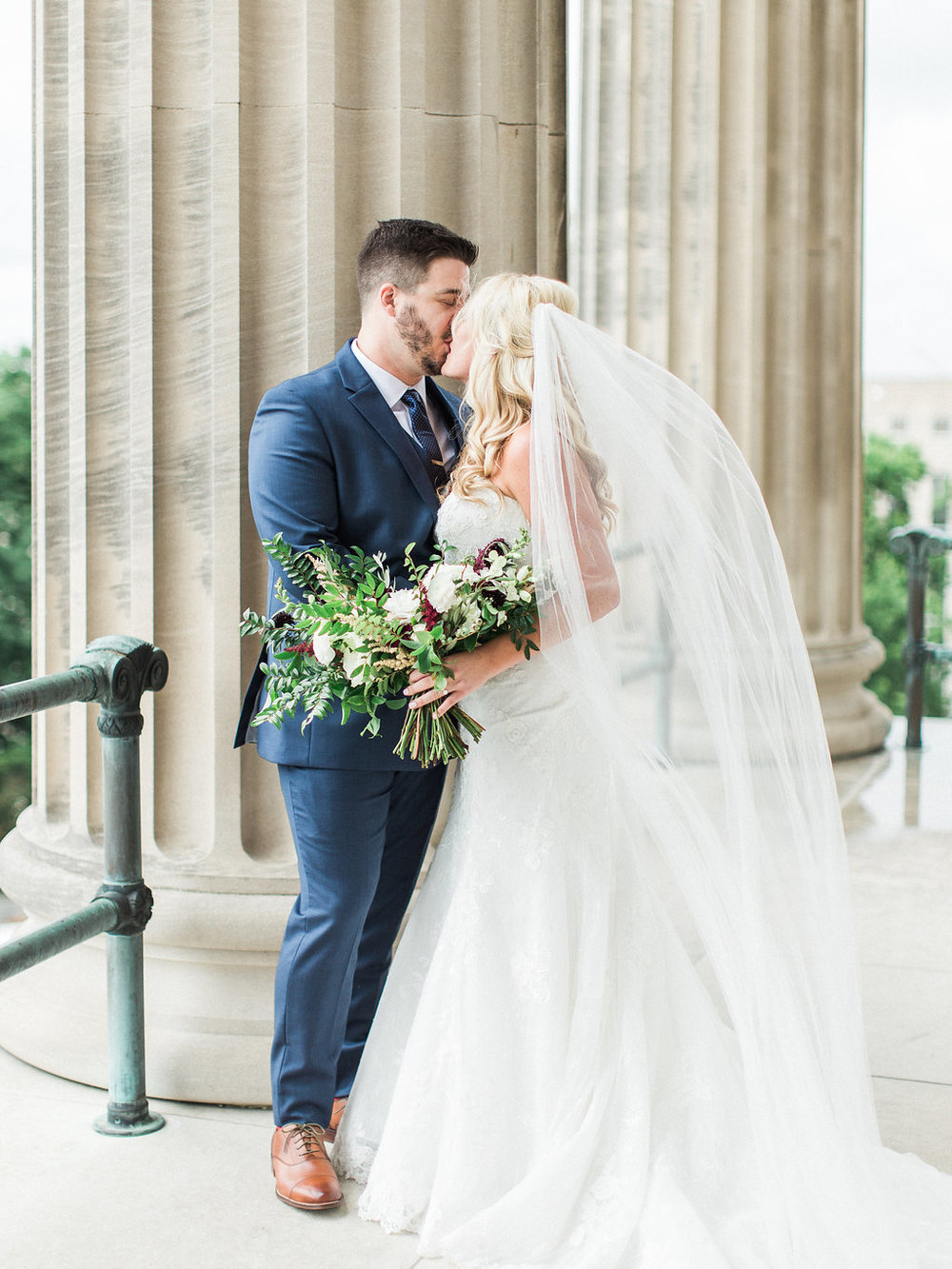 Bride and Groom portraits at the Tennessee State Capitol, downtown Nashville // Wedding Floral Design