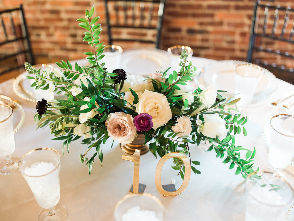 Low gold bowls overflowing with natural floral in shades of blush, neutral, marsala, and wine // Tennessee Wedding Florist