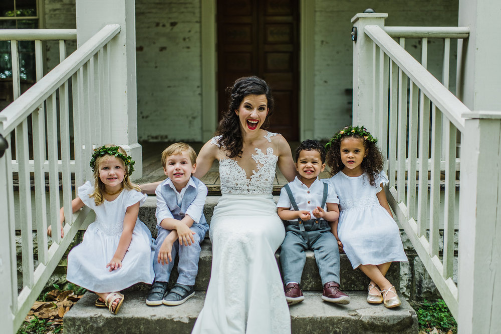 Dainty flower girls crowns of greenery // Nashville Wedding Florist