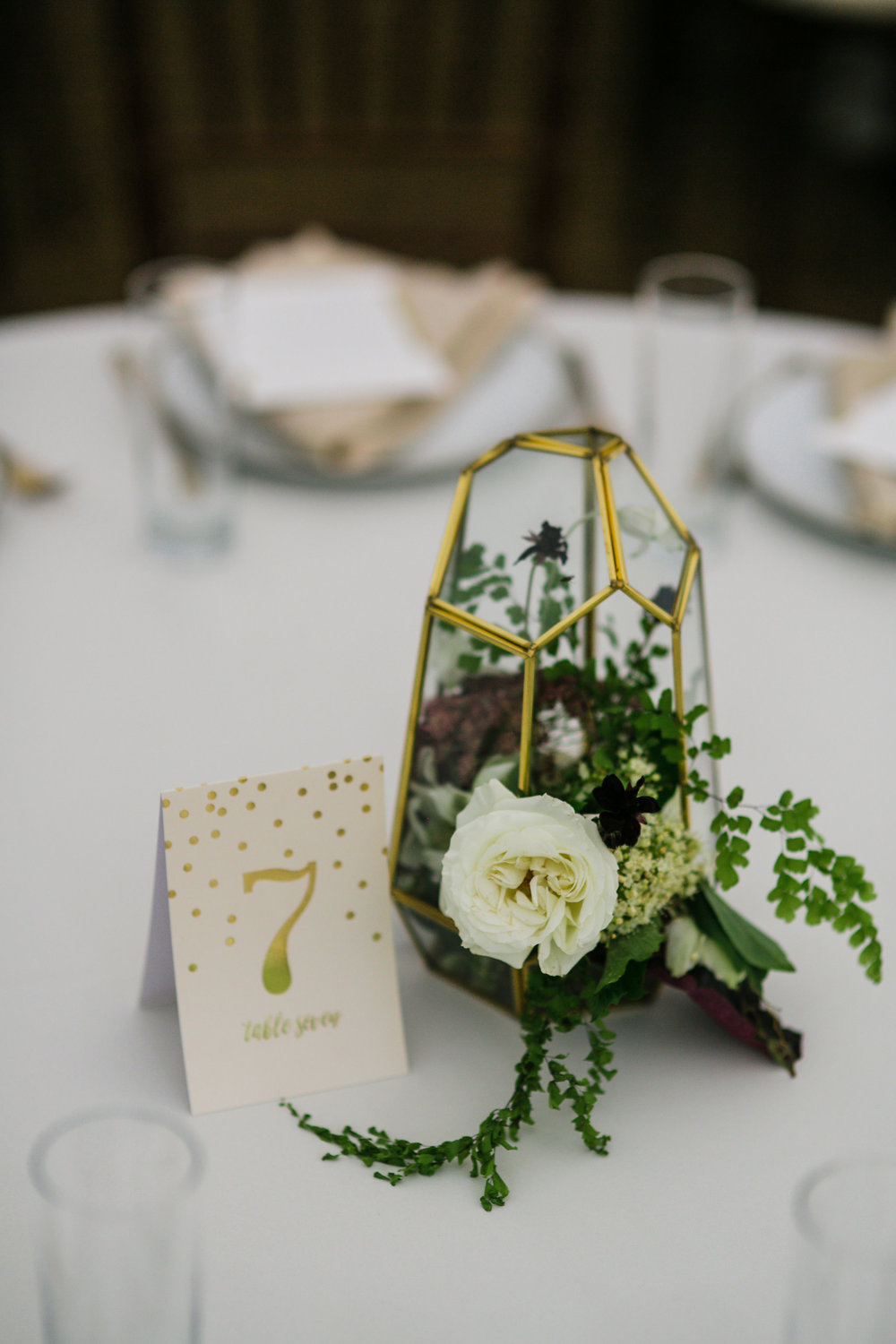 Gold geometric terrarium with whimsical, lush flowers and greenery // Art Deco inspired wedding floral design in Nashville