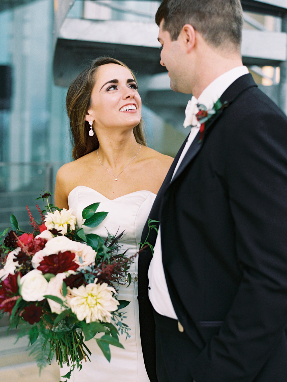 Elegant burgundy and white floral design // Nashville Wedding Flowers