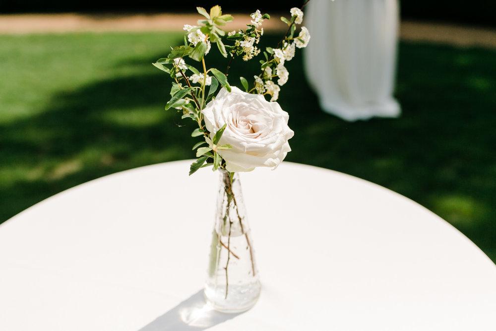 Simple bud vases for cocktail hour // Nashville Wedding Floral Design