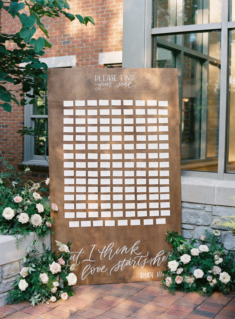 Escort card sign with lush, organic floral design // Southern US Florist