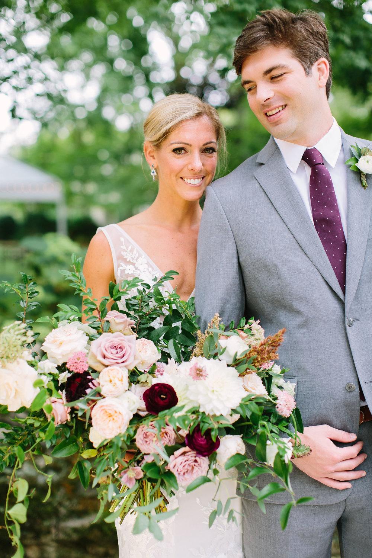 Lush, garden-inspired bridal bouquet at a Belle Meade backyard wedding // Nashville Floral Design