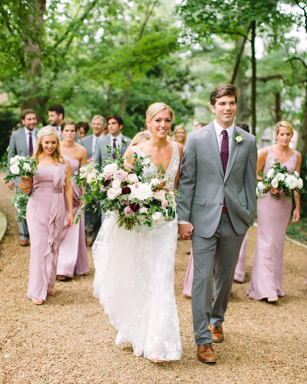 Dusty rose, blush, and ivory bridal bouquet with lush greenery // Nashville Wedding Florist