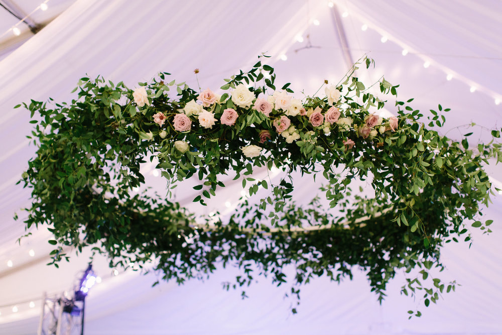 Oversized floral wreath over the dance floor // Nashville Wedding Florist