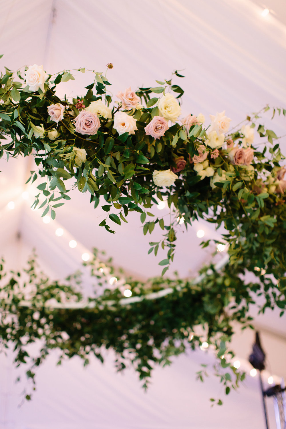 8 foot floral wreath with natural greenery and mauve and cream garden roses // Nashville Wedding Florist
