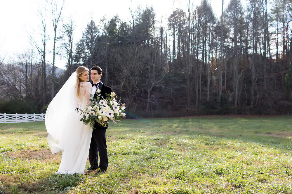Winter Wedding at Blackberry Farm with all white and greenery florals // Southern US Florist
