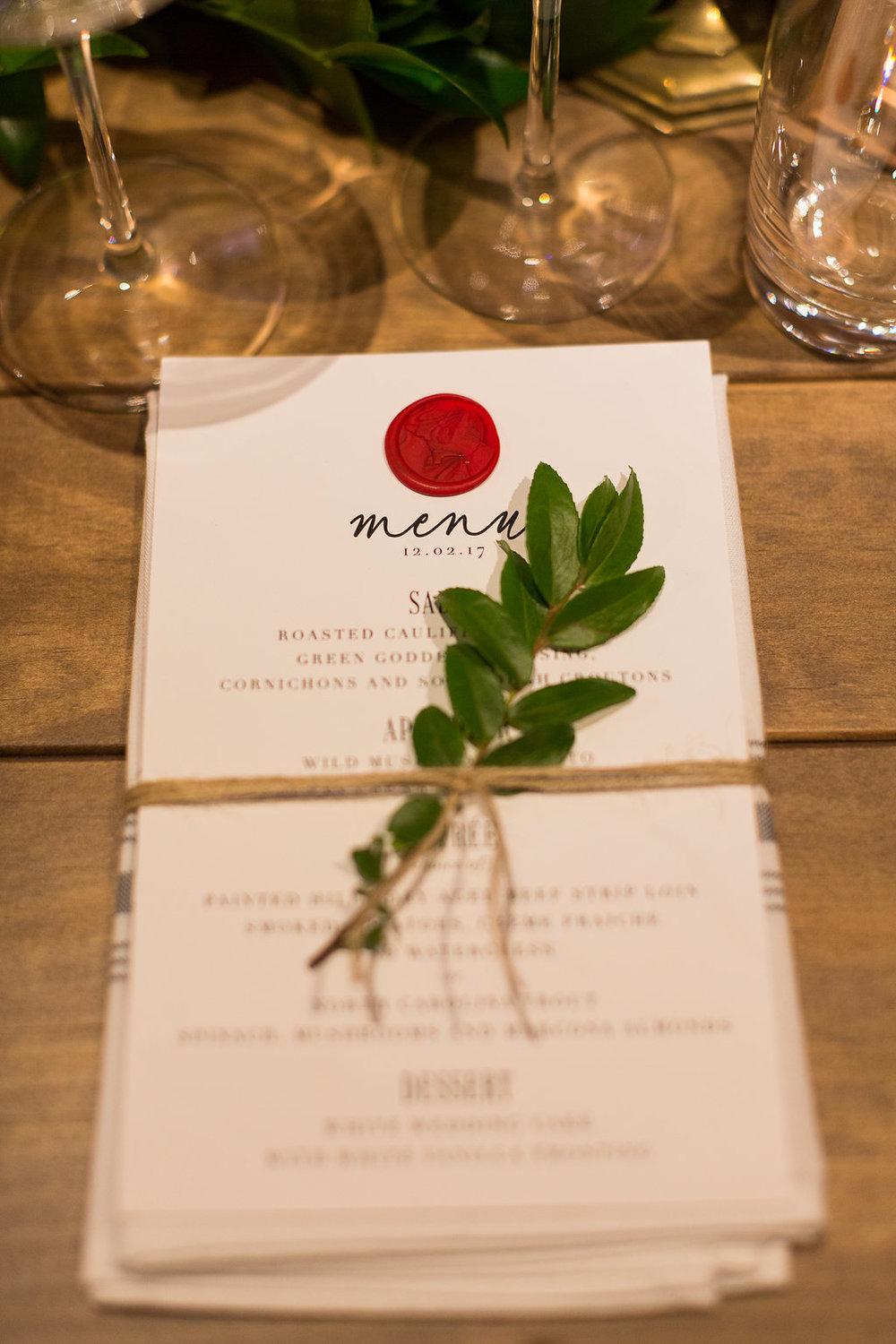 Place setting greenery sprig // Nashville Wedding Florist