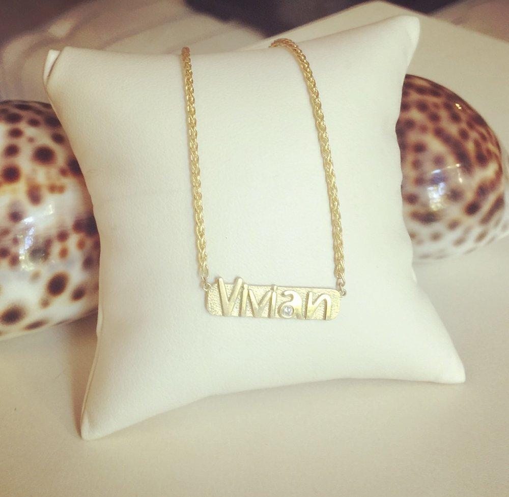 Custom Nameplate Necklace by Kate Alexandra Jewelry