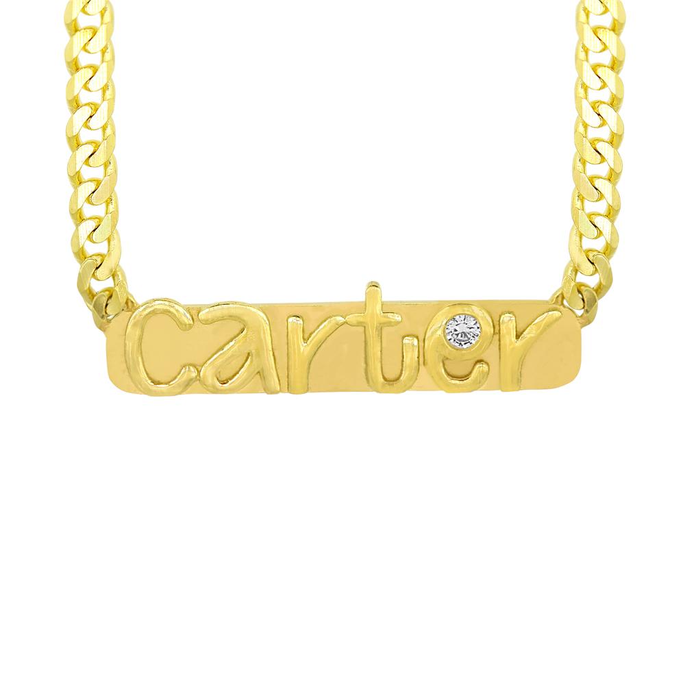 Custom Nameplate Necklace, 14k gold +Diamond