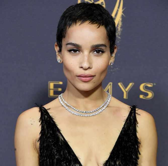 Zoe Kravitz paired her gorgeous rainbow feathered Dior dress with glittering Tiffany & Co. diamonds, including two necklaces, earrings, a bracelet and rings.