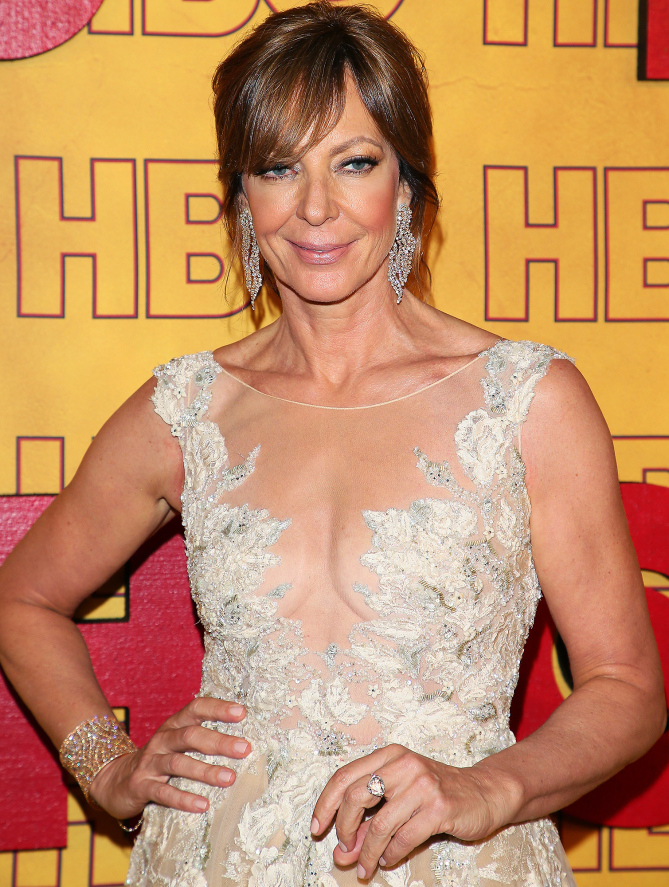 Alison Janney sparkled in Lorraine Schwartz bling, which included 18-karat rose gold and white diamond waterfall earrings, a 100-carat diamond cuff and 15-carat diamond ring.