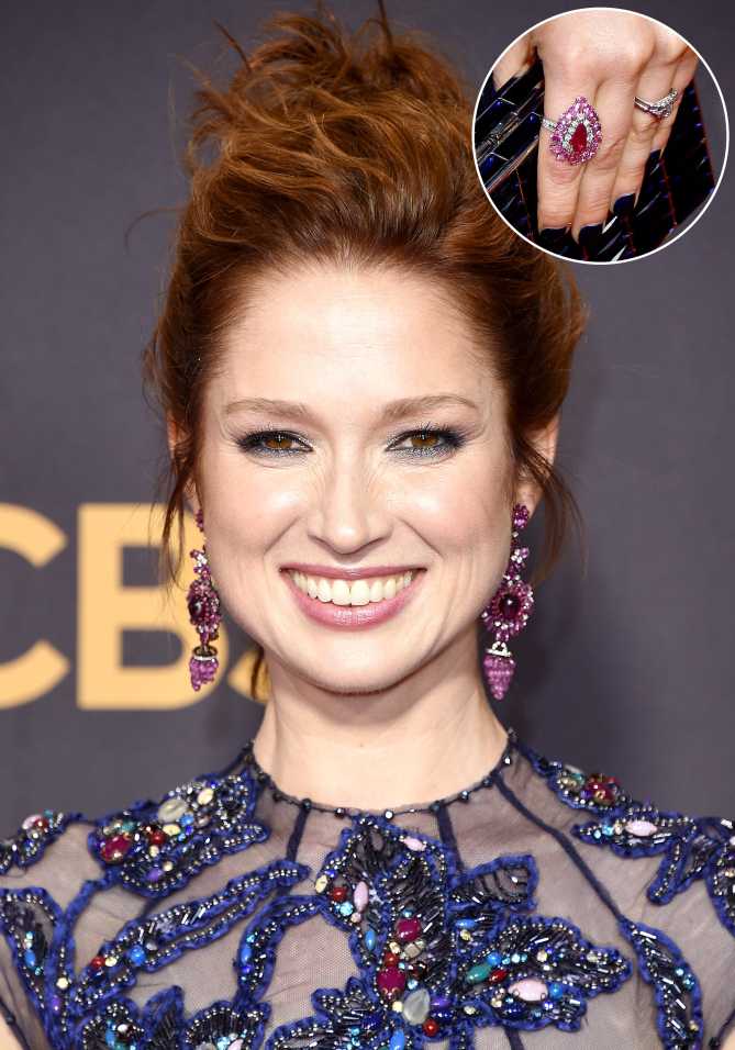 Ellie Kemper played up the colorful beading on her Jenny Packham gown with chandelier earrings Lorraine Schwartz featuring rubellite, ruby and pink sapphire, plus a handful of ruby rings.