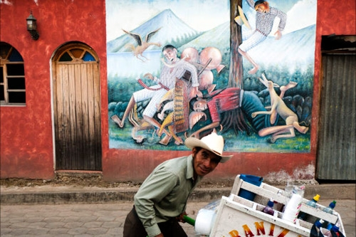Beautiful murals depict local life and history in San Juan La Laguna