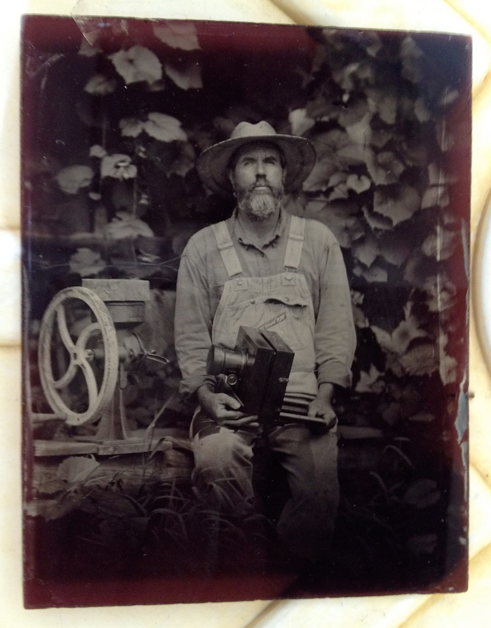 Sadly, this is one of my favorite ambrotypes that I shot of John....and I broke it...I never even scanned it.  I just have this one photograph of it.