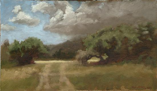 """Gunstock Ranch, HI    Oil on Panel, Signed ( l.r. ) """"Christopher P.T. Fleming 2000""""  10 7/8"""" x 17 1/2"""" Frame O.D.    SOLD"""