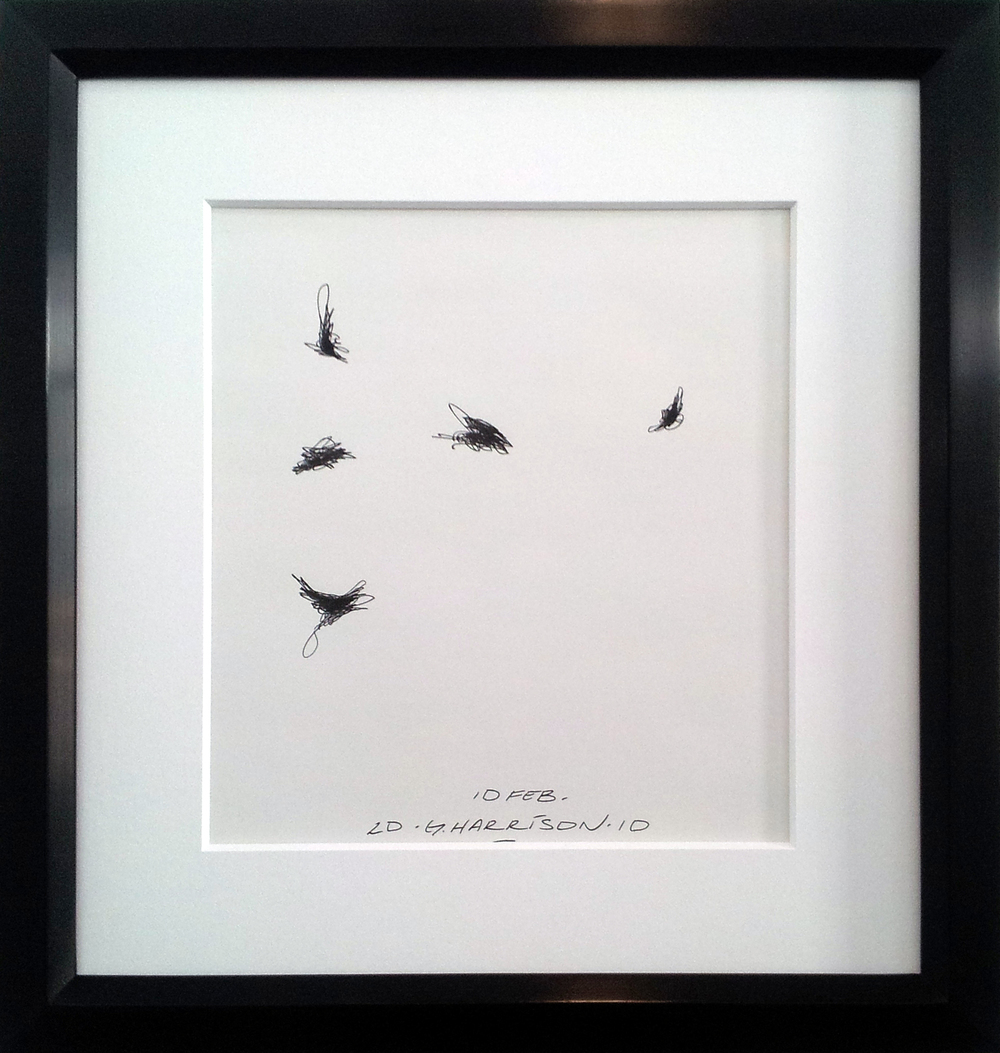 "Untitled Drawing ( 10 February 2010 )    Ink on Paper ( Framed )  Frame O.D. 16"" x 14""    $1,050"
