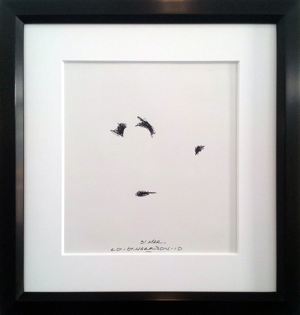 "Untitled Drawing ( 31 March 2010 )    Ink on Paper ( Framed )  Frame O.D. 16"" x 14""    $1,050"