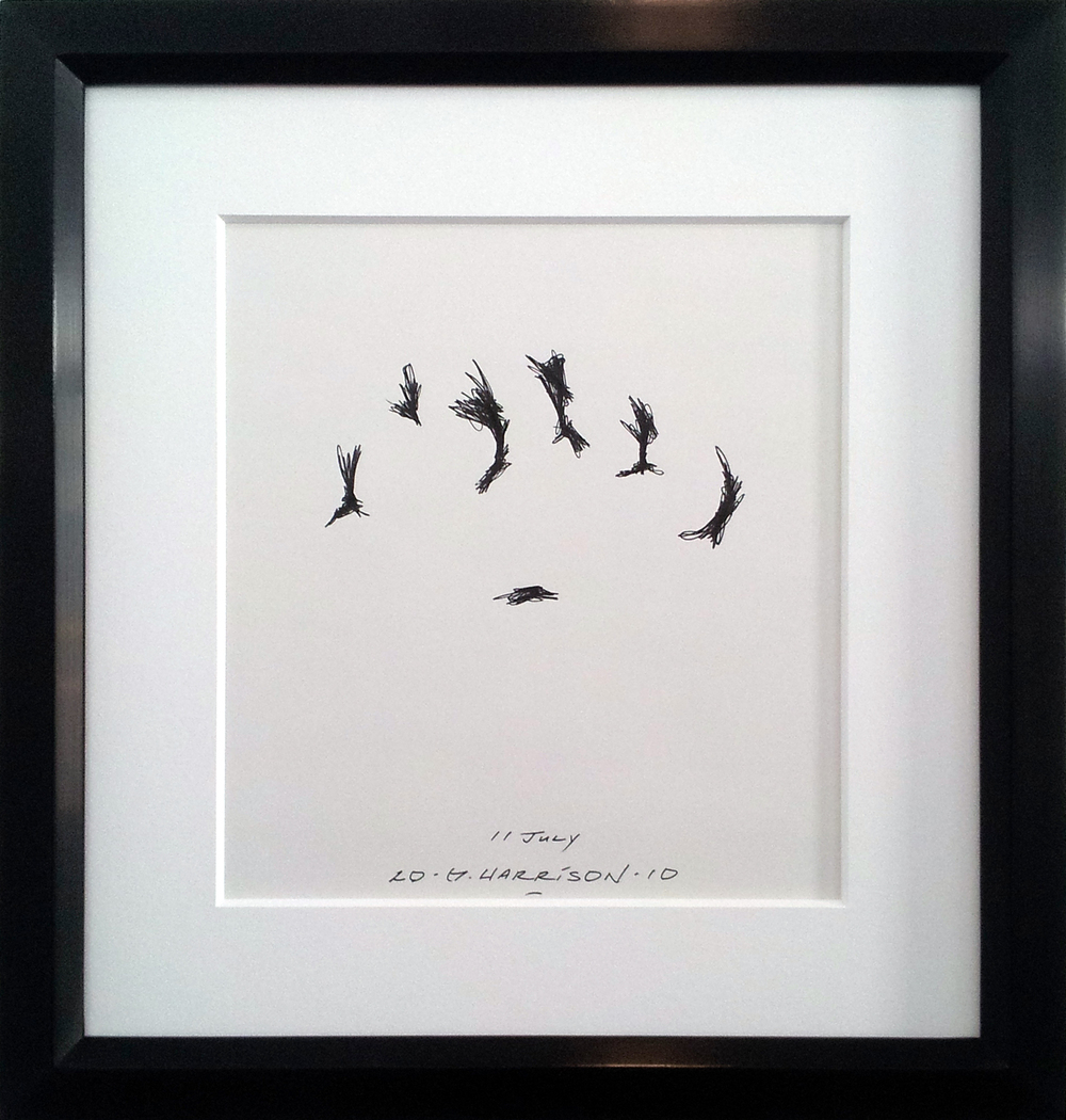 "Untitled Drawing ( 11 July 2010 ) Ink on Paper ( Framed ) Frame O.D. 16"" x 14"" $1,050"