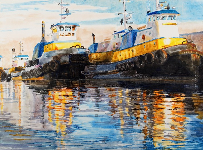 "Western Tow Boats Watercolor on Paper 22"" x 30"" $1,200"
