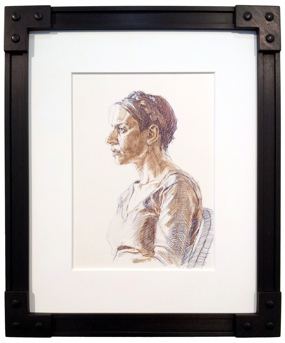 Michael Stasinos ( American ) Untitled, Portrait Ink on Toned Scratchboard ( Framed ) $1,450 ( Framed )
