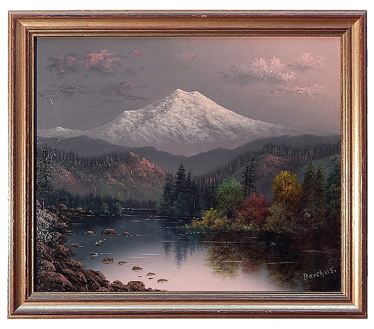 "Mt. Hood Oil on Artist Panel, Signed ( l.r. ) ""Barchus"" 10"" x 12"" SOLD Born in Salt Lake City, UT on Dec. 4, 1857. Eliza Lamb married John Barchus in 1880 and settled in Portland, OR where she studied with Wm S. Parrott. Her landscapes of well-known scenic spots of Oregon, Alaska, and California, such as Mt Hood, Mt Shasta, Yosemite, Muir Glacier, and Crater Lake, brought her great renown. Having enjoyed a long painting career, she died in Portland on Dec. 31, 1959 at age 102. Exh: Portland Mechanics' Fair, 1887 (gold medal), 1888 (silver medal); NAD, 1890; Pan American Expo (Buffalo), 1901; Lewis & Clark Expo (Portland), 1905 (gold medal). In: Oregon Historical Society (Portland); Portland Museum; Bancroft Library (UC Berkeley). Edan Hughes, ""Artists in California, 1786-1940"" Eliza R. Barchus, The Oregon Artist; Women Artists of the American West; Oregonian, 1-1-1960, 1-5-1960 (obits)."