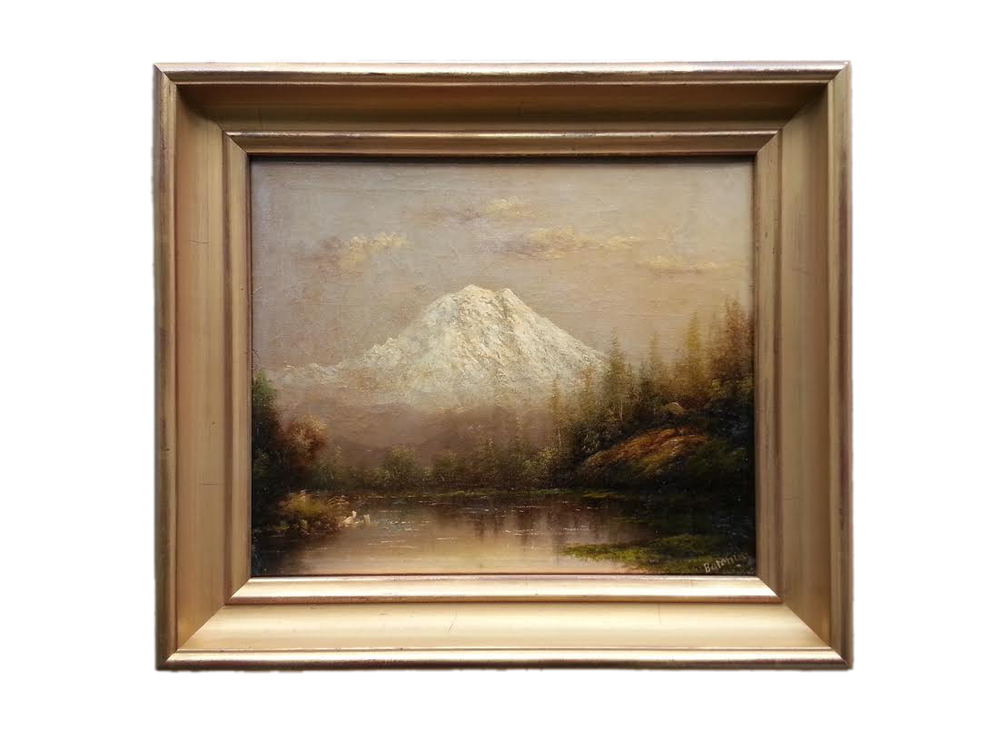 "Mt. Hood Oil on Canvas, Signed ( l.r. ) ""Barchus"" 10"" x 12"" Price Available Upon Request Born in Salt Lake City, UT on Dec. 4, 1857. Eliza Lamb married John Barchus in 1880 and settled in Portland, OR where she studied with Wm S. Parrott. Her landscapes of well-known scenic spots of Oregon, Alaska, and California, such as Mt Hood, Mt Shasta, Yosemite, Muir Glacier, and Crater Lake, brought her great renown. Having enjoyed a long painting career, she died in Portland on Dec. 31, 1959 at age 102. Exh: Portland Mechanics' Fair, 1887 (gold medal), 1888 (silver medal); NAD, 1890; Pan American Expo (Buffalo), 1901; Lewis & Clark Expo (Portland), 1905 (gold medal). In: Oregon Historical Society (Portland); Portland Museum; Bancroft Library (UC Berkeley). Edan Hughes, ""Artists in California, 1786-1940"" Eliza R. Barchus, The Oregon Artist; Women Artists of the American West; Oregonian, 1-1-1960, 1-5-1960 (obits). Museums (2):  Eliza Barchus Jordan Schnitzer Museum of Art Portland Art Museum, Oregon"