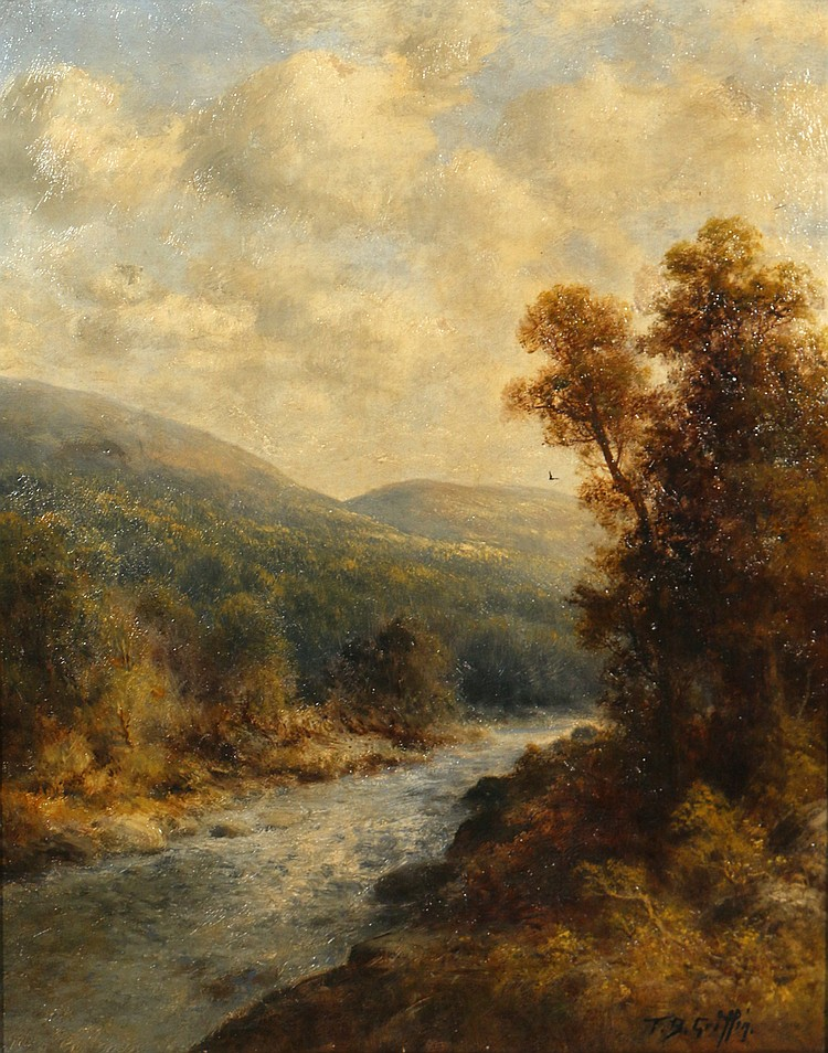 "On The Delaware River    Oil on Canvas, Signed ( l.r. ) ""T. B. Griffin""  20"" x 16""    SOLD    Thomas B. Griffin was born in Philadelphia, Pennsylvania during the last half of the nineteenth century. His first formal art education was at the National Academy of Design in New York. While at the Academy, Griffin exhibited his very well executed impressionistic landscapes. In 1896, he listed his address as 340 Fulton Street, Brooklyn, New York. It was during this year that Griffin exhibited ""Views from the Catskills (from Haine's Corners)"" and ""Hunter Mountain, Catskills,"" at the National Academy. Thomas B. Griffin later moved to Baltimore where he opened a studio and established himself as a painter of impressionistic landscapes.  Listed: The Dictionary of American Artists, Sculptors and Engravers, by Young Exhibition of the National Academy, 1861-1900, vol.1, pg. 367 Who was Who in American Art Mantle Fielding's  Museums  (1) :  Thomas Griffin   The Brooklyn Museum of Art"
