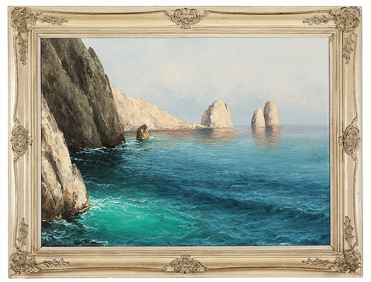 "Capri, Italy ( Coastal View ) Oil on Canvas, Signed ( l.l. ) ""Guido Odierna"" 24"" x 30""  Price Available Upon Request Provenance: Harrods, London. Non-Profit Organization, San Dimas, CA."