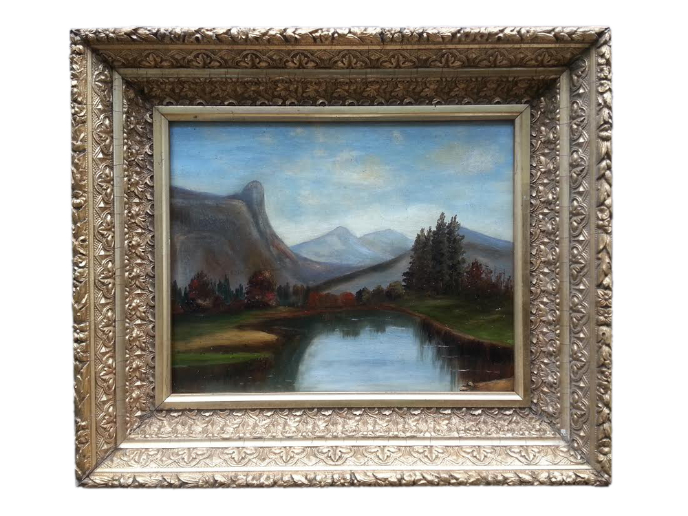 "Primitive Landscape Oil on Academy Board, Unsigned 11 1/2"" x 13 1/2"" (Framed)"