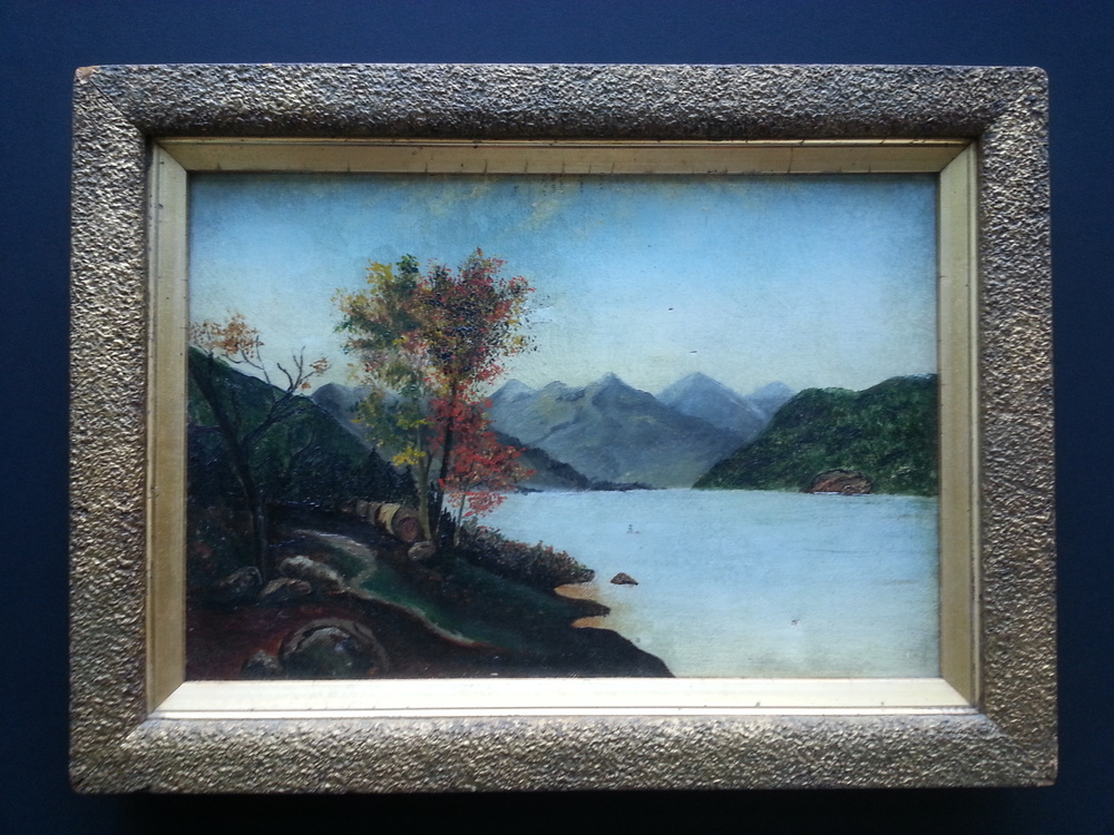 "River View with Mountains    Oil on Canvas, Unsigned  8 1/2"" x 12 1/2"" / 11 1/4"" x 15 1/4"" Framed ( Original Period Frame )    Price Available Upon Request"