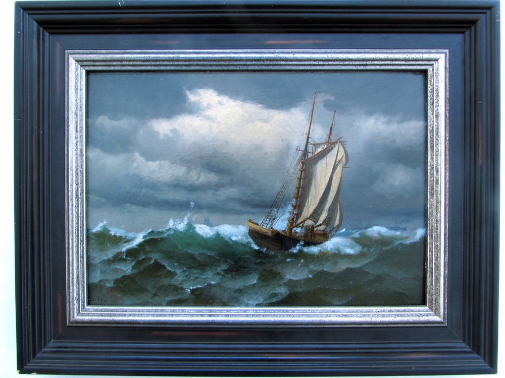 "Rough Seas    Oil on Panel, Signed ( l.l. ) Undecipherable  9"" x 12"" / 14 1/4"" x 17 1/4"" Framed    SOLD"