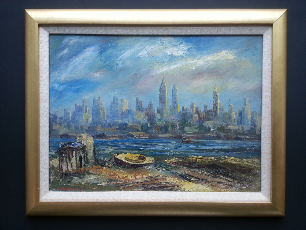 "NYC Skyline    Oil on Panel, Signed ( l.l. ) ""I. Moskowitz""  12"" x 16"" / 15 1/2"" x 19 1/2"" Framed    Price Available Upon Request"