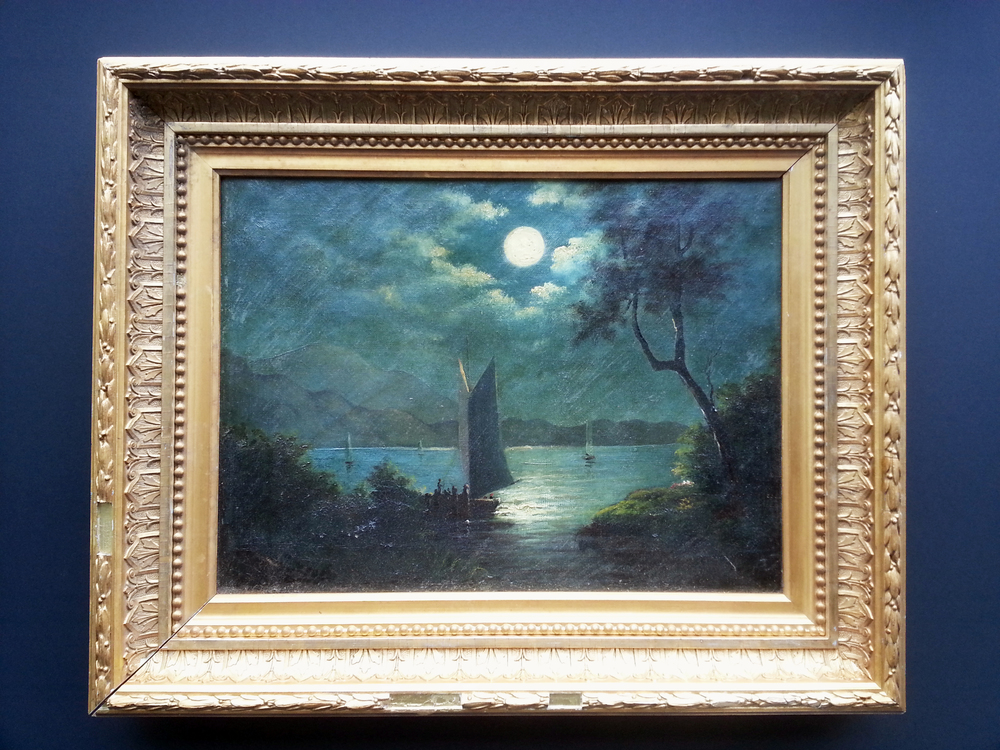 Sailing under a Full Moon    Oil on Canvas, Unsigned       Price Available Upon Request