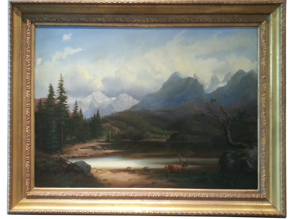 "Mountain Landscape Oil on Canvas, Signed ( l.r. ) "" R. Helgen"" 37 1/4"" x 48"" Frame O.D. Price Available Upon Request"