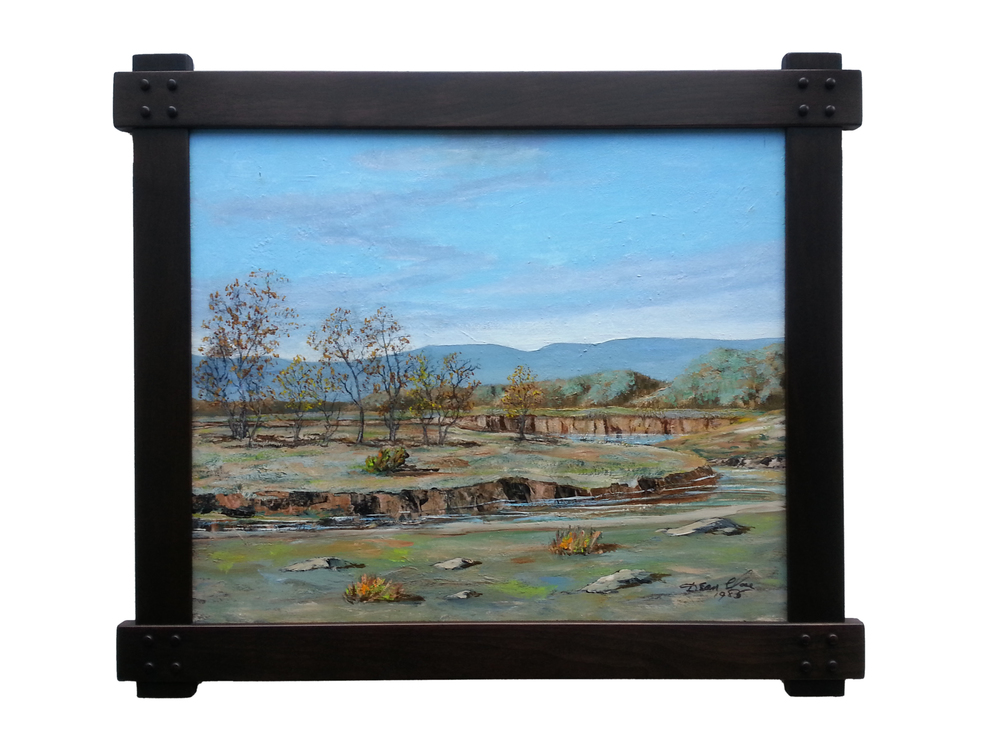 "Desert Landscape Oil on Masonite, Signed ( l.r. ) ""Dean Close 1985"" 22"" x 26"" / 26"" x 30"" Framed ( Plasteel Frame ) SOLD"