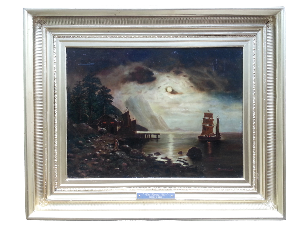 "The Fishing Cove    Oil on Canvas, Signed ( l.r. ) ""Bessie W. Cook""  21 1/2"" x 21 1/2"" (Framed)      SOLD"