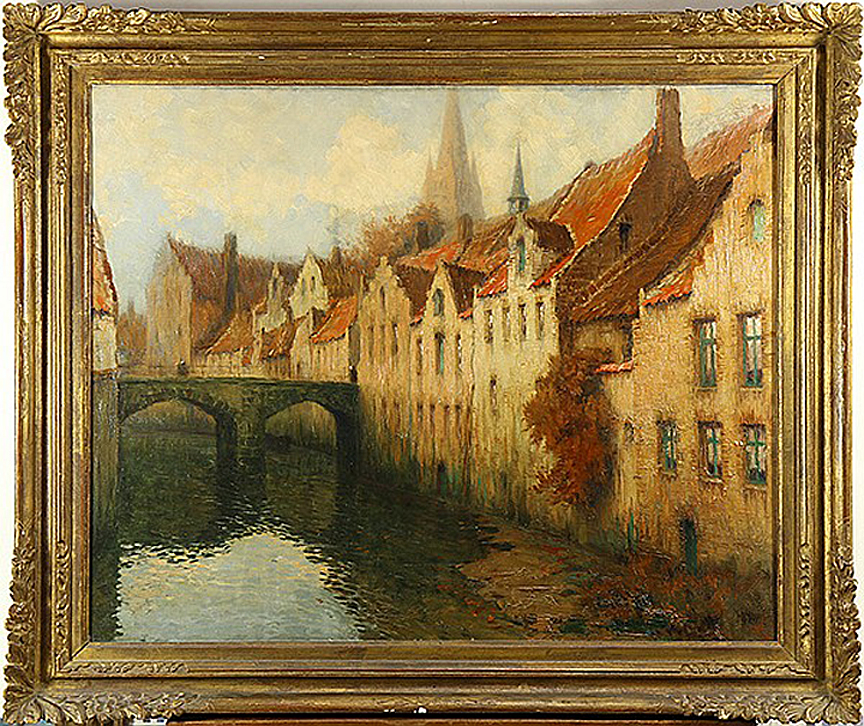"Canal in Bruges Oil on Canvas, Signed (l.r.) ""Georges .H. Dilly"" 23 3/4"" x 28 3/4"" / 29 1/2"" x 34 1/2"" ( Original Period Frame ) Price Available Upon Request"