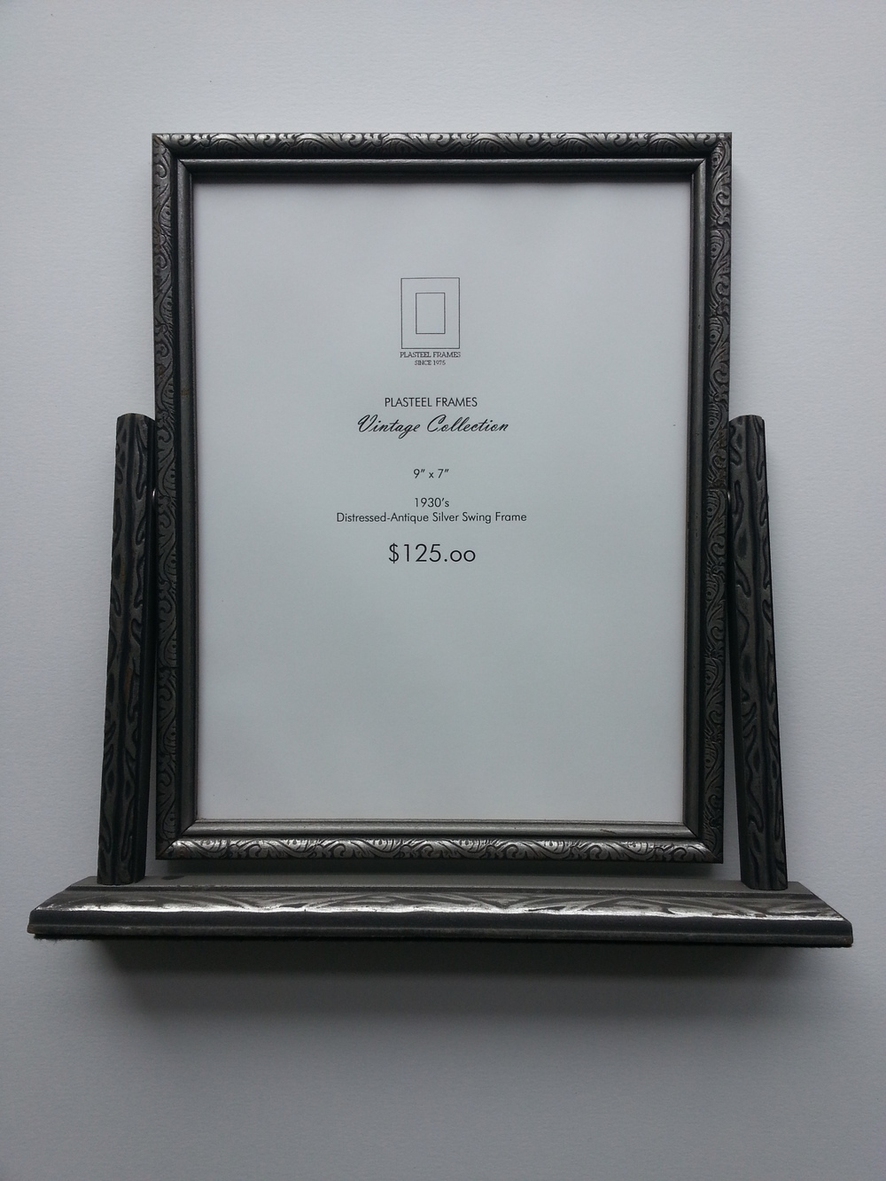 "Antique Silver Pressed Swing Frame, 1930's Frame R.S. 9"" x 7"" $125 Available"