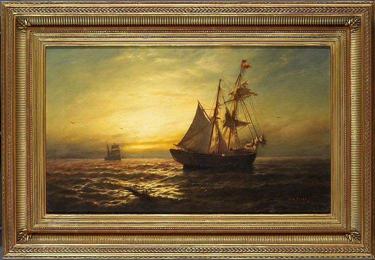 "After the Storm Oil on Panel, Signed (l.r.) ""J. G. Tyler 1880"" 12"" x 20"" / 20"" x 28"" Framed ( Quality Reproduction Frame ) SOLD James Gale Tyler was one of the most notable maritime painters and illustrators of his day. His popularity can be gauged by the fact that his works were often forged. It is estimated that in New York City in 1918, more than 100 works falsely carried his name. Tyler was born in 1855 in Oswego, New York. At age 15, Tyler, already fascinated by the sea and its vessels, moved to New York, where he studied under marine artist A. Cary Smith. This brief tutelage was the only formal art training Tyler ever received. No aspect of maritime life escaped Tyler's attention. In addition to painting all types of boats, from old sloops to clipper ships, he painted a variety of seamen, coastal scenes, and seascapes. From 1900 to 1930, Tyler traveled each year to Newport, Rhode Island, where he painted the annual America's Cup Race. Some of these paintings were commissioned; the remainder were widely exhibited and widely acclaimed. In fact, Tyler received a number of important commissions in his lifetime. He also capitalized on the money to be made through magazines, and was a regular contributing writer and illustrator for some of the major publications of the time, including Harper's, Century, and Literary Digest. Tyler's artistic style is vivid and poetic, infused with his unique and special enthusiasm for the subjects that he painted. As seen in our painting After the Storm, his emphasis is more on mood and impression than on the exacting details conveyed by more realistic painters. When, at the height of his career, Tyler became aware of the number of paintings falsely circulated under his name in New York, he complained to the district attorney and was able to successfully pursue several civil action suits. Having lived most of his life in Greenwich, Connecticut, Tyler moved to Pelham, New York in 1931, shortly before he died. Tyler's paintings are in the permanent collections of The Corcoran Gallery, Washington D.C.; Wadsworth Athenaeum, Hartford, CT; Omaha Museum of Art, Omaha, NB; Mariner's Museum, Newport News, VA; and The New York Historical Society."