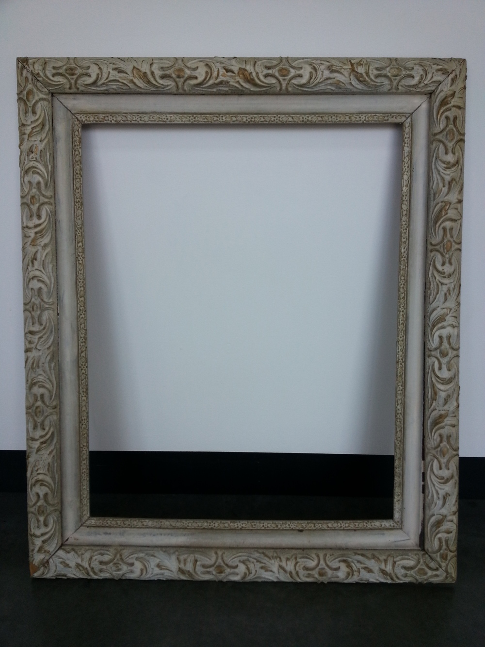 "Vintage Heavy Distressed / White Wash Finish      Frame R.S. 16"" x 20"" / Frame O.D. 21"" x 25""    $125     Available"
