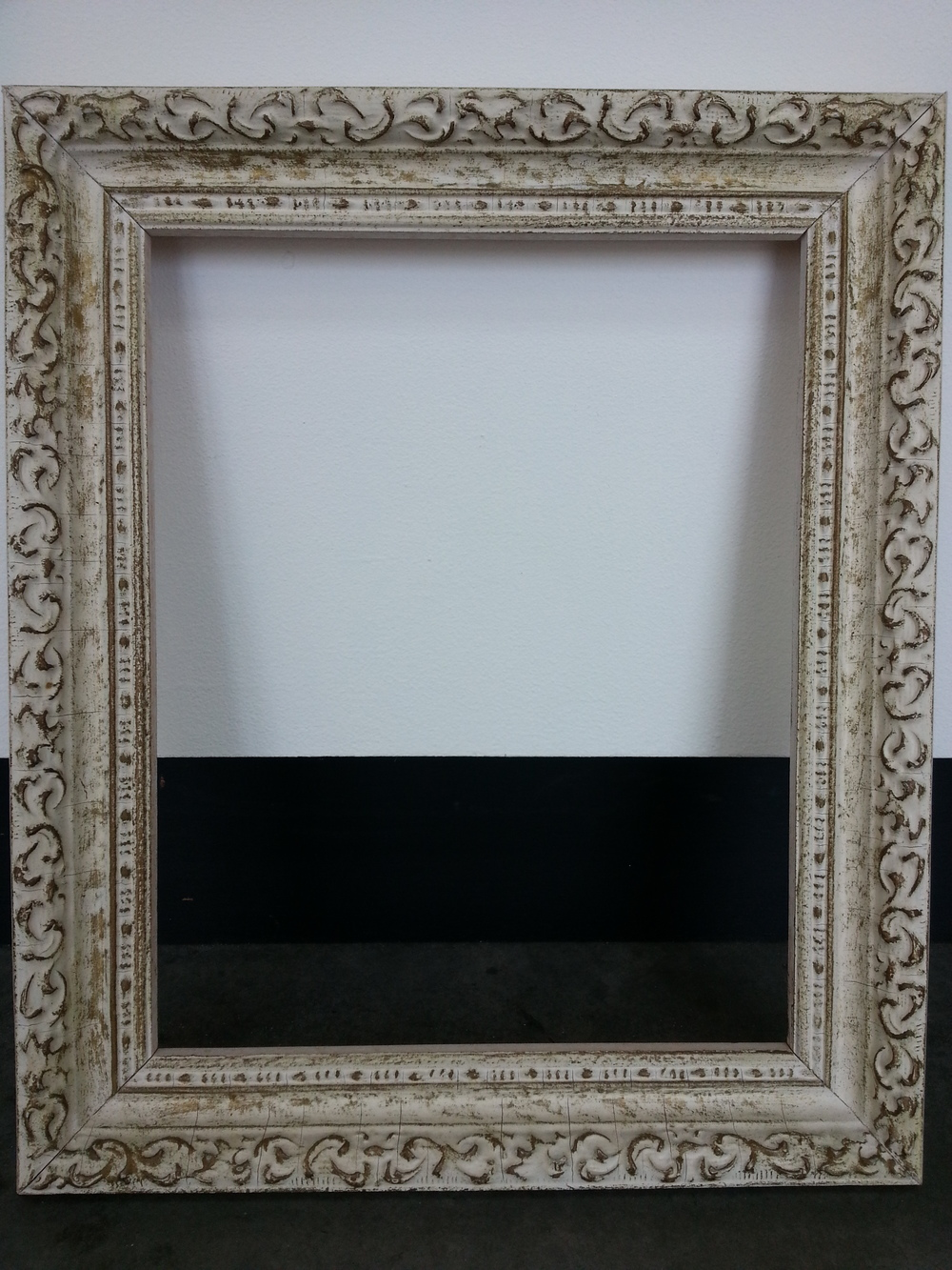 "Vintage Distressed / White Wash Finish Frame R.S. 8"" x 10"" / Frame O.D. 10 1/4"" x 12 1/4"" $80 Available"