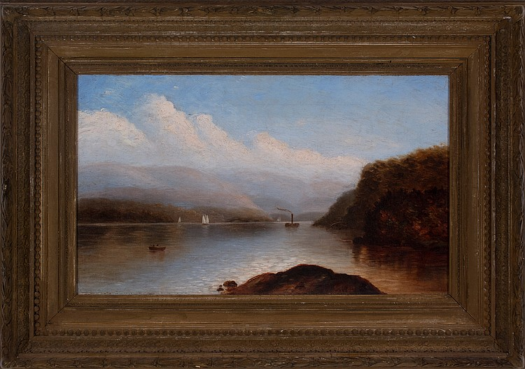 """Lake George"" Oil on Canvas, Signed ( l.c. ) ""JWC"" 12"" x 20"", Antique Frame Price Available Upon Request Born in New York City, John Casilear was a leading Hudson River School* painter, known for serene landscapes that reflect delicate detailing he learned as an engraver and his interest in Luminism* or the reflection of light on natural forms. He began his study with master engraver Peter Maverick and then studied landscape painting with Asher Durand.  To earn money, Casilear worked for many years as an engraver for the American Bank Note Company and later with his own firm. But his great love was landscape painting, which he exhibited beginning 1833 at the National Academy of Design*.  From 1840 to 1843, he traveled in Europe with Durand, John Kensett and Thomas Rossiter, but for most of his life, he worked either out of his studio in New York City or in upstate New York or in Vermont, where he spent many summers. From 1854, he devoted himself to landscape painting and was a leader among the Hudson River School Luminist painters who focused on special effects of air, light, and mood.  Views of Lake George were his most frequent subjects. He was elected an Academician of the National Academy in 1851, and his work is at the Metropolitan Museum of Art in New York and the Corcoran Gallery of Art in Washington D.C. He died in Saratoga, New York. Source: Michael David Zellman, 300 Years of American Art Peter Falk, Who Was Who in American Art Museums (22):  John William Casilear   Butler Institute of American Art Frederick R Weisman Art Museum George Walter Vincent Smith Museum Georgia Museum of Art High Museum of Art Mead Art Museum Metropolitan Museum of Art Museum of Fine Arts, Boston National Academy of Design Museum National Gallery of Art, Washington DC New-York Historical Society Robert Hull Fleming Museum Saint Louis Art Museum The Brooklyn Museum of Art The Columbus Museum of Art, Georgia The Museum Of Arts And Sciences The Newark Museum The White House Permanent Collection The Woodmere Art Museum Wadsworth Atheneum Museum of Art Walters Art Museum Washington County Museum of Fine Arts"