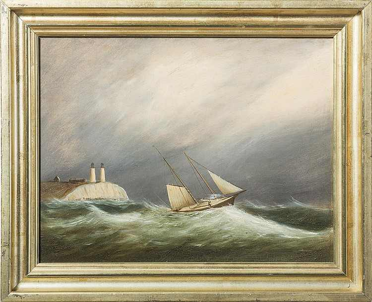 "Plymouth Light    Oil on Board, Signed, Inscribed, Dated ""Plymouth Light / by Clement Drew 1866""  10 1/2"" x 13 1/2""     Price Available Upon Request    Born in Kingston, Massachusetts, Clement Drew settled in Boston and became a marine painter of harbor scenes and vessels at sea, especially in rough oceans. Most of his marine paintings were done between 1838 and 1886, and his earliest paintings were views of Boston's south shore. He later traveled extensively, from Maine to the Grand Banks off Newfoundland, to Cape Horn and then San Francisco.  He held many jobs besides that of artist and began working in Boston in a dry goods store in 1827. He also worked in a library, sold carpets, and had his own store to do framing and sell art supplies. He was also an abolitionist joining forces with William Lloyd Garrison in the fight to end slavery.  Source: Groce and Wallace, ""The New York Historical Society's Dictionary of Artists in America"" Peter Falk, ""Who Was Who in American Art""  Museums  (7) :  Clement Drew   Butler Institute of American Art    Everson Museum Of Art    Mystic Art Association Gallery    Oakland Museum of California    Peabody Essex Museum    Shelburne Museum    The Mariners' Museum"
