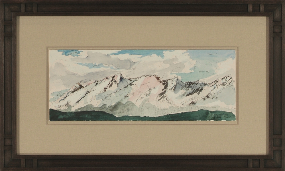 Maria Coryell-Martin ( American ) Field Sketch Watercolor and Ink on Paper ( Plasteel Frame ) $1,750 ( Framed )