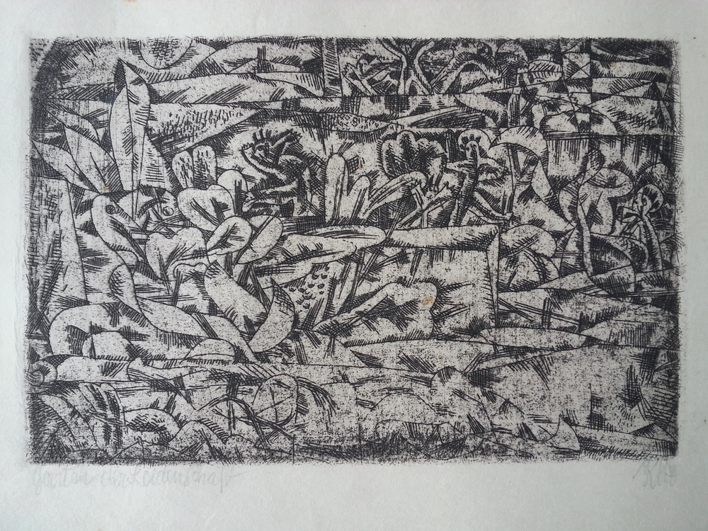"Paul Klee ( German, 1879 - 1940 ) ""Garten der Leidenschaft"" / ""Garden of Pleasure"" ( 1913 ) Original Hand Pulled / Artist Signed Etching Approx. Image Size 3 1/2"" x 5 1/2"" / Frame O.D. 12 7/16"" x 14 7/8"" Titled by the Artist ( l.l. ), Signed ""Klee"" ( l.r. ) $6,700 ( Framed )"